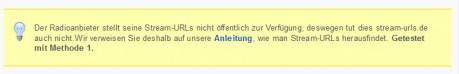 Hinweis auf stream-urls.de, dass die URLs aufgrund der Radiosender nicht veröffentlich werden.